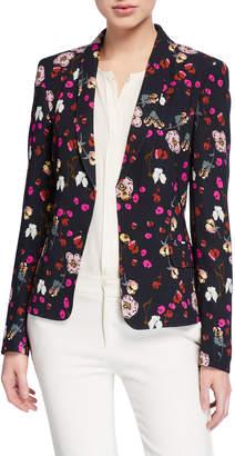 Escada Brikenab Floral-Print Jersey Blazer Jacket