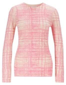 BOSS Printed sweater in ribbed virgin wool