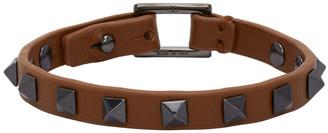 Valentino Brown Garvani Leather Rockstud Bracelet
