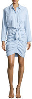 Veronica Beard Sierra Ruched Chambray Mini Dress, Light Blue