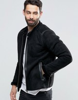 Pretty Green Biker In Faux Shearling Slim Fit In Black
