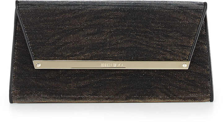 Jimmy Choo Margot Zebra-Print Shimmer Wallet Clutch, Black/Amber