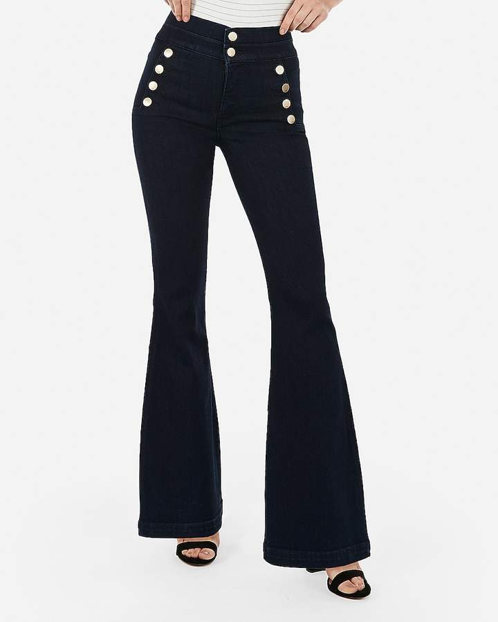 Express Super High Waisted Denim Perfect Button Front Bell Flare Jeans