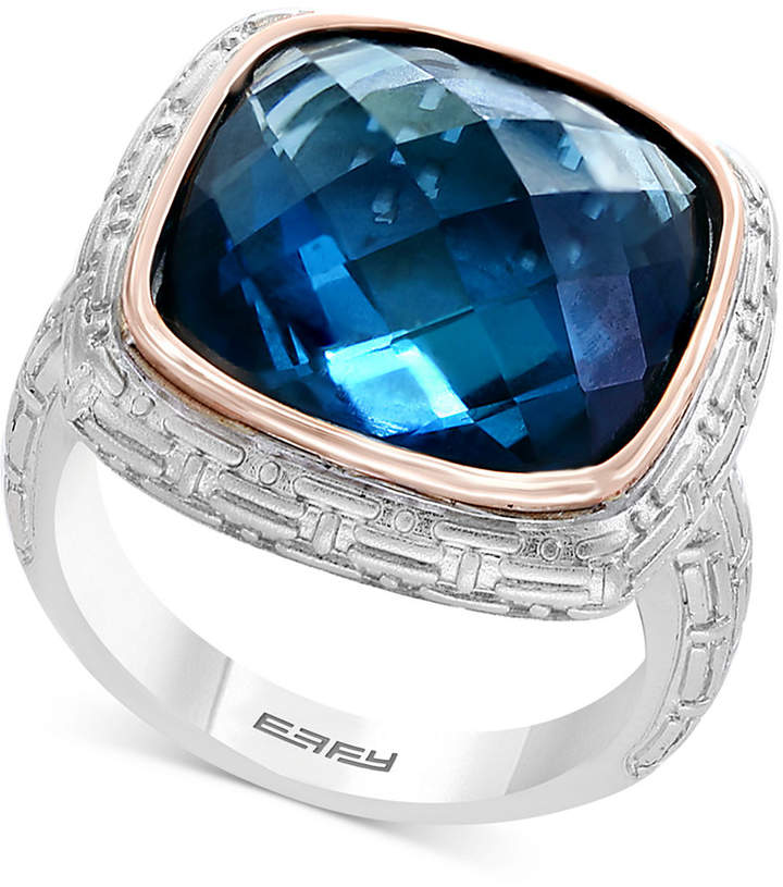 Effy Balissima by London Blue Topaz Ring (12 ct. t.w.) in Sterling Silver & 18k Rose Gold