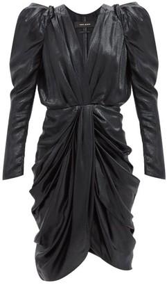 Isabel Marant Issolya Puff-sleeve Draped Silk-blend Lame Dress - Black