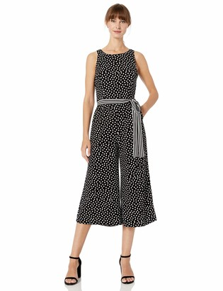 Gabby Skye Women's Polka Dot Belted Jumpsuit