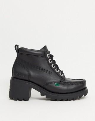 Kickers Klio Kick Hi chunky heeled ankle boots in black