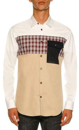 DSQUARED2 Mixed-Fabric Poplin Shirt