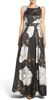 Eliza J Women's Belted Metallic Jacquard Gown