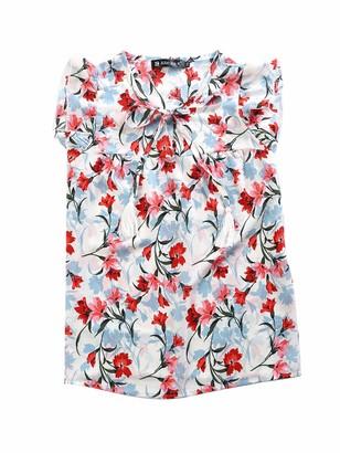 Allegra K Women's Floral Self Tie Neck Tassel Sleeveless Ruffle Shirt Blouse White 4