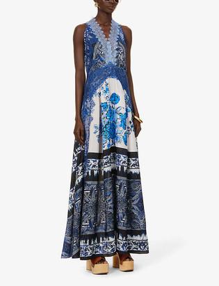 Alberta Ferretti Floral Halter-Neck Silk-Satin Gown