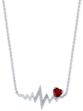 "Macy's Lab-Created Ruby (1/20 ct.t.w.) & Diamond Accent Heartbeat Pendant Necklace in Sterling Silver, 16"" + 2"" extender"
