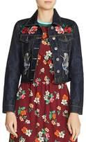 Maje Barry Embroidered Cropped Denim Jacket