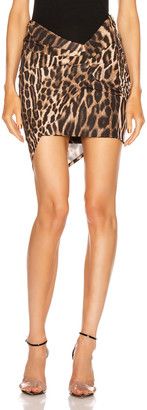 Alexandre Vauthier for FWRD Ruched Mini Skirt in Animal | FWRD