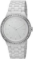 DKNY Women's Quartz Stainless Steel and Ceramic Casual Watch, Color:White (Model: NY2528)