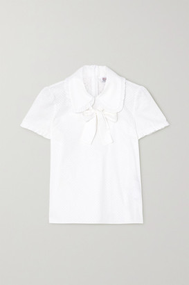 RED Valentino Bow-detailed Perforated Cotton-poplin Blouse