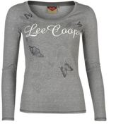 Lee Cooper Womens Textured T Shirt Graphic Cotton Long Sleeve Scoop Neck Tee