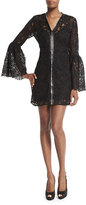 McQ by Alexander McQueen Long-Sleeve Lace Zip-Front Mini Dress, Black
