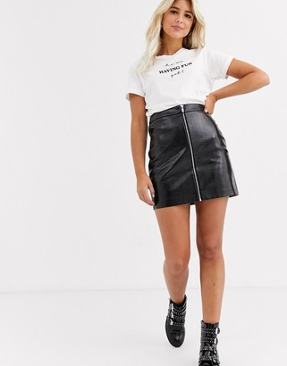 New Look leather look croc mini skirt in black
