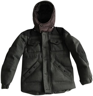 Moncler Hood Anthracite Wool Coats
