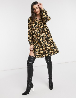 Vila long sleeve smock dress in yellow floral print