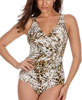 Miraclesuit Brown Sheer Safari Oceanus One-Piece