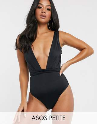 Asos DESIGN recycled petite glam belted swimsuit in black