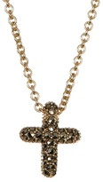 Judith Jack Gold Plated Sterling Silver Reversible Pave Cross Pendant Necklace