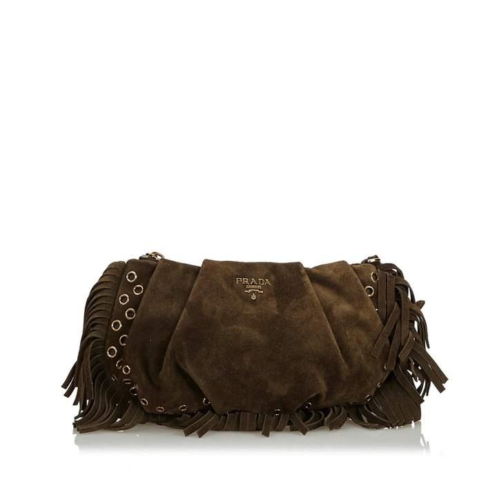 1b76624d7373 Prada Brown Suede Handbag - ShopStyle