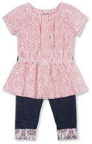 Little Lass Baby Girls Two-Piece Crochet Top and Knit Denim Capri Set