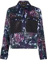Versace Leather-Paneled Printed Duchesse-Satin Jacket