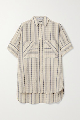 Palmer Harding Boyfriend Oversized Striped Linen-blend Seersucker Shirt - Beige
