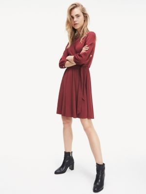 Tommy Hilfiger Three Quarter Sleeve Fit And Flare Dress