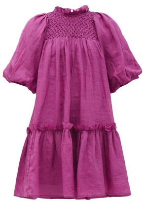 Sea Geneva Smocked Cotton-voile Trapeze Dress - Dark Pink