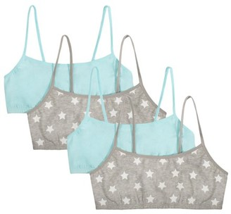 Fruit of the Loom Girls Spaghetti Cotton Crop Bra, 4-Pack, Sizes 4-18