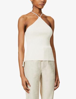 Musier Paris Jonnie halterneck cotton-knit top