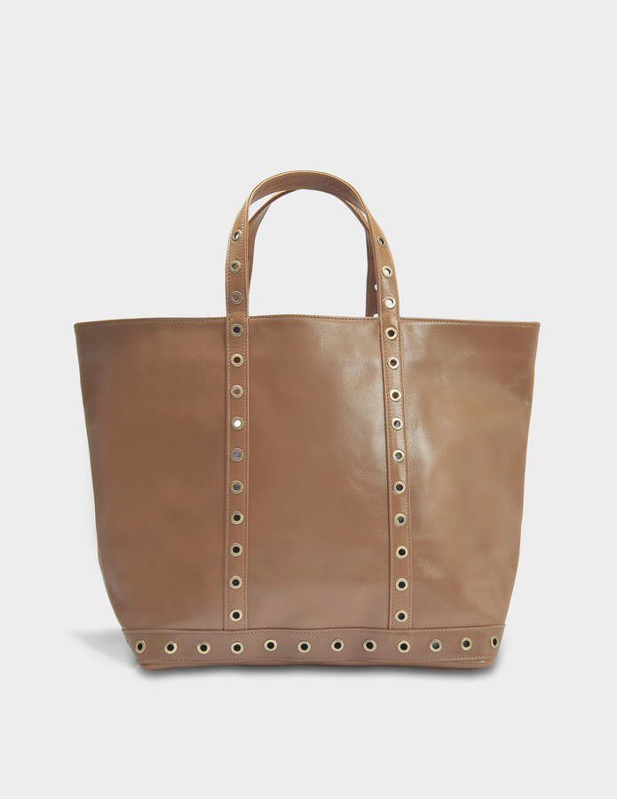 Vanessa Bruno Leather and Eyelets Medium + Tote Bag in Antilope Cowhide