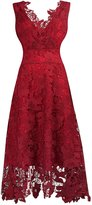 KIMILILY KMILILY Women's Elegant V neck Sleeveless Floral Lace Burgundy Bridesmaid Dress(L)