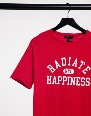 New Look oversized radiate happiness t-shirt in red