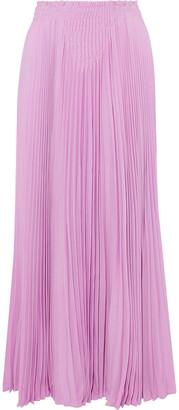 Valentino Smocked Pleated Silk-crepe Maxi Skirt
