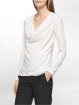 Calvin Klein Chiffon Long Sleeve Wrap Top