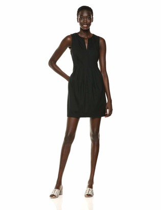 Halston Women's Sleelvess Notch-Neck Linen Dress with Seam Detail