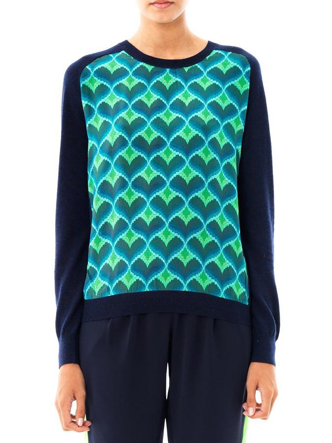 Emma Cook Heart-print silk panel sweater