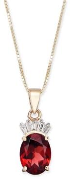 "Macy's Garnet (1-1/2 ct. t.w.) & Diamond Accent 18"" Pendant Necklace in 14k Gold"