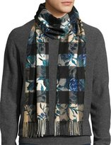 Burberry Large Peony Flower Mega Check Cashmere Scarf, Ink