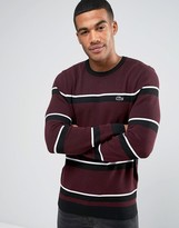 Lacoste Jumper With Stripe In Red