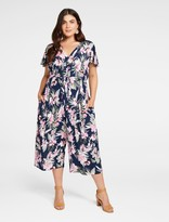 Forever New Riley Curve Cap Sleeve Jumpsuit - NAVY VINTAGE ORCHID PRINT - 16