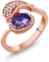 Gem Stone King 2.01 Ct Oval Checkerboard Purple Amethyst 18K Rose Gold Plated Silver Dolphin Ring