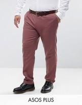Asos Plus Wedding Skinny Smart Pant In Pink 100% Merino Wool