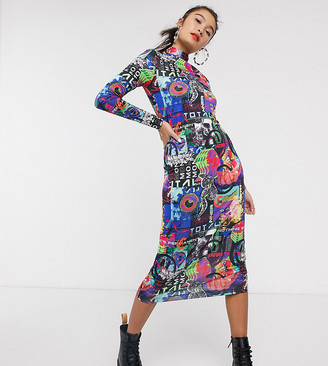 COLLUSION long sleeve bodycon midi dress in graphic print